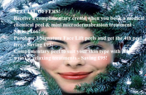 Receive a complimentary crème when you book a medical chemical peel & mini microdermabrasion treatment - Saving £66! Purchase 3 Signature Face Lift peels and get the 4th peel free - Saving £95! Complimentary peel to suit your skin type with all wrinkle relaxing treatments - Saving £95!
